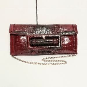 WHBM Red Patent Croc Embossed Faux Leather Clutch